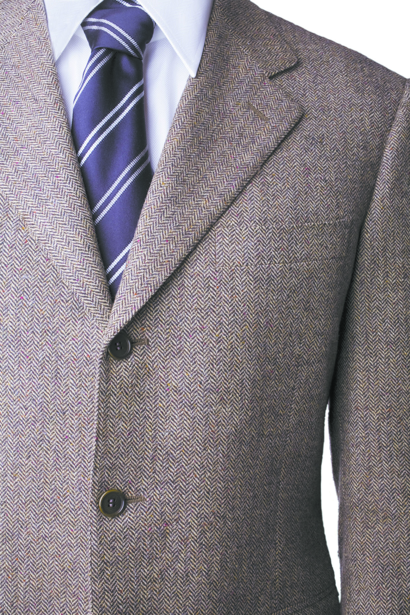 Tweed Wool blazer, shirt and tie with windsor knot