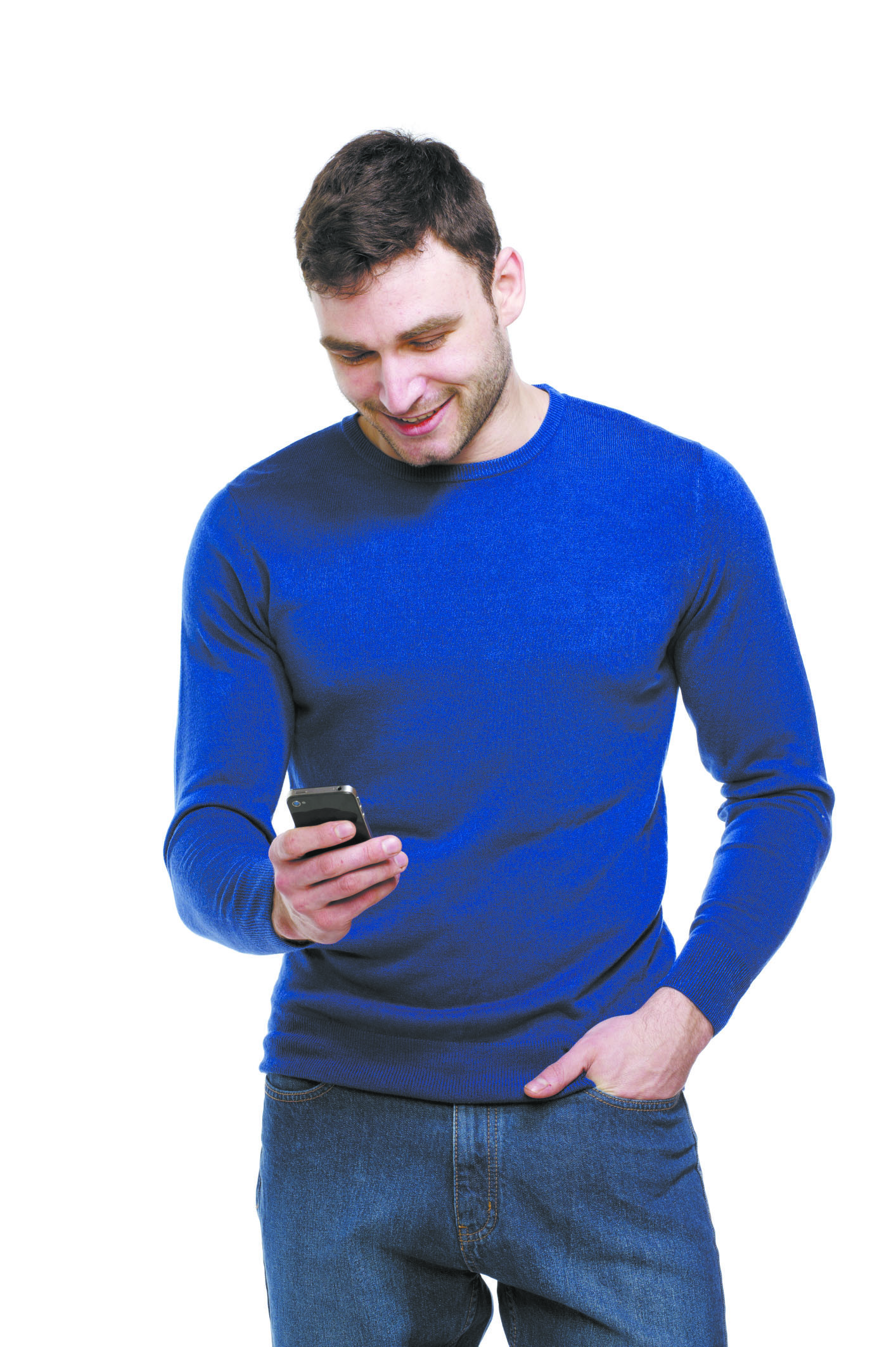 Man holding a mobile phone isolated on white background