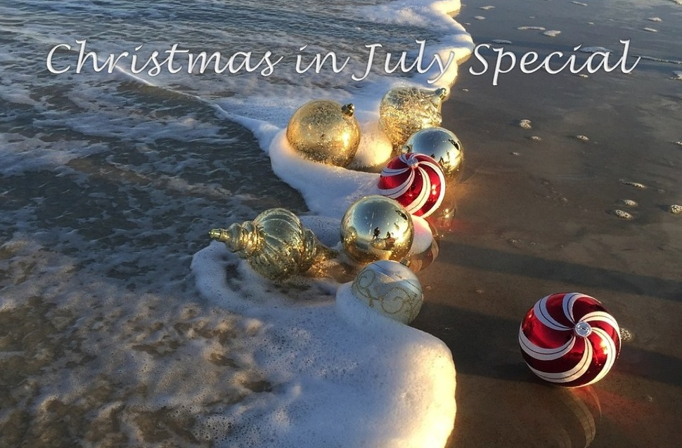 christmas ornaments on beach