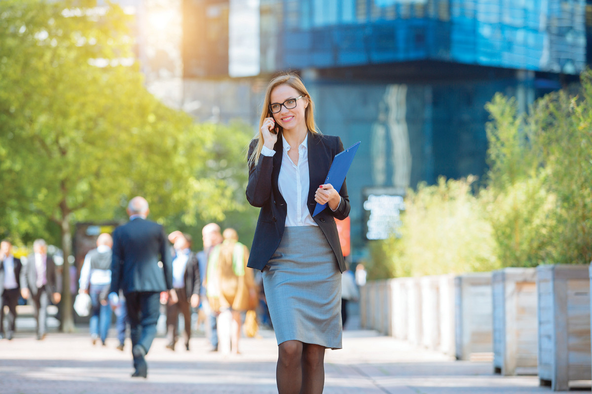 Portrait of a businesswoman talking on mobile phone